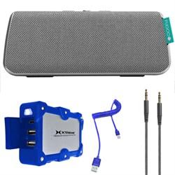Style Portable Waterproof Bluetooth Speaker  Silver w/ Power Bank Charger Bundle