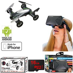 Fly + Drive Air + Land Carbon-Fiber Quadcopter Drone w/ HD Camera + VR Bundle