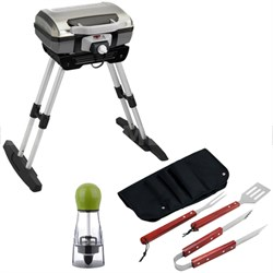 Outdoor Electric Grill with Adjustable Versa Stand with BBQ Bundle