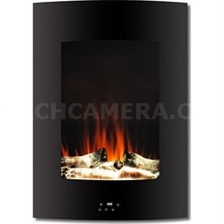 "19.5"" Vertical Color Changing Wall Mount Fireplace with Logs - CAM19VWMEF-2BLK"