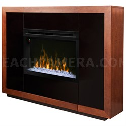 Salazar Electric Fireplace & Media Console - Mantel Glass Ember Bed Mocha