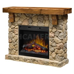 Fieldstone Electric Fireplace & Media Console - Mantel Man Made Stone