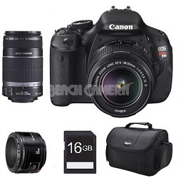 EOS Digital Rebel T3i 18MP SLR Camera w/ 18-55mm, 55-250mm IS, 50mm F/1.8 II Kit