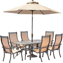 Manor 7PC Dining Set:6 Sling Chairs 38 X72  Cast Table Umbrella Stand