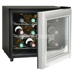Up to 12-Bottle Capacity Thermal Electric Wine Cellar Black with Silver Door