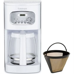 Brew Central 12-Cup Programmable Coffeemaker White+2 Gold Tone Filters