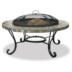 Slate/Tile Outdoor Firebowl with Copper Accents