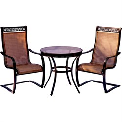 Monaco 3PC Bistro Set: 2 Spring Sling Chairs and 30  Glass Tbl