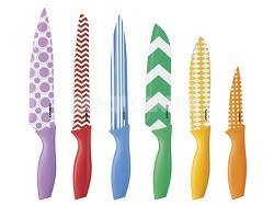 12-Piece Printed Color Knife Set with Blade Guards