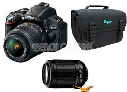 D5100 16.2MP Digital SLR Body w/ 18-55mm VR Lens & 55-200mm VR Lens Bundle Deal