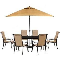 Brigantine 7-pc Dining Set: Alum. Glass Table 6 Chr Umbrella Base