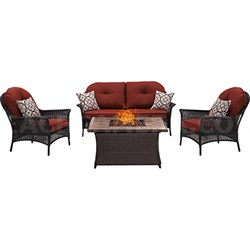 San Marino 4-Piece Fire Pit Lounge Set in Crimson Red - SMAR4PCFP-RED-TN