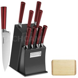 11 Pcs Vetrano Collection Cutlery Knife Block Set Red w/ Cutting Board