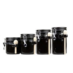 CS44153 4PC Ceramic Canister Set with Spoon (Black)