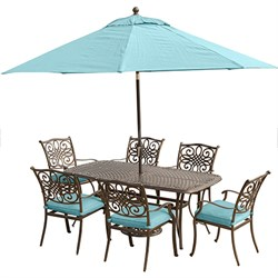 Traditions 7PC Dining Set: 6 Chrs (Blue) 38 x72  Table UmbrellaStand