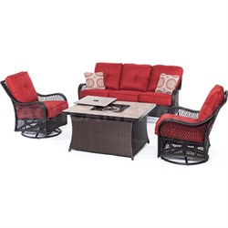 Orleans 4-Piece Woven Fire Pit Set in Autumn Berry - ORLEANS4PCFP-BRY-B