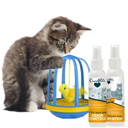 Bird in a Cage Electronic Cat Toy (1400013433) + Odor and No Stick Litter Spray