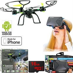 Ready-To-Fly 2.4Ghz 6 Axis Gyro Aerial Quadcopter Drone w/ Cam +VR Bundle