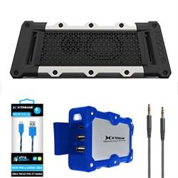 Tough Port. Waterproof B.tooth Speaker Black/Silver w/ Power Bank Charger Bundle