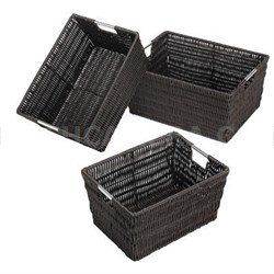 Set of 3 Rattique Storage Baskets in Espresso - 6500-1959-ESPR