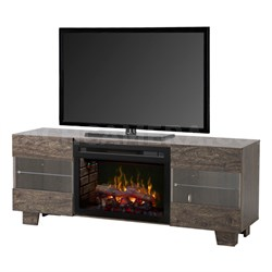 Max Electric Fireplace & Media Stand- Elm Brown