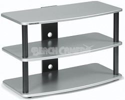 SF-3V Audio/Video Television Stand (Silver) w/ Black Steel Posts