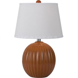Bleeker Ceramic Ribbed Ball Table Lamp in Orange - 8569-TL