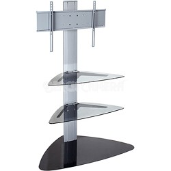 "SmartMount Universal TV Stand (Silver) for 32"" to 50"" TVs w/ Two glass shelves"