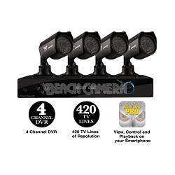 4 Channel Security Solution with 4 Indoor/Outdoor Cameras