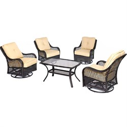 Orleans 5PC Swivel Set: 4 Swivel Chairs 1 Coffee Table