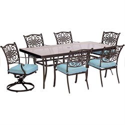 Traditions 7PC Dining Set:4 Chairs 2 Swvl Chairs (Blue)42 x84  Glass Tbl