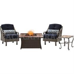 Ventura Fire Pit Chat Set with Tan Porcelain Tile Top - VEN3PCFP-NVY-TN