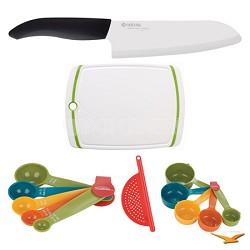 "Revolution 6-1/4"" Chef's Knife, Cutting Board, Measuring Sets, Drainer Bundle"