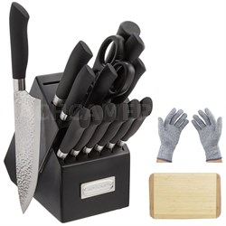 15 Pcs Steel Cutlery Block Set w/ Bamboo Cutting Board & Safety Gloves