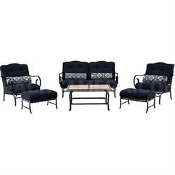 Oceana 6pc Seating Set: Sofa 2 Side Chrs 2 OttomanTile-Top Coffee Tbl