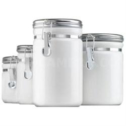 4pc White Ceramic Canister Set