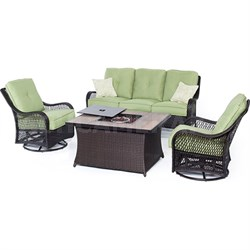 Orleans 4-Piece Woven Fire Pit Set in Avocado Green - ORLEANS4PCFP-GRN-A