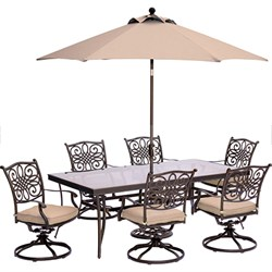 Traditions 7PC Dining Set: 6 Swl Chrs42 x84  Glass Table Umb Stand