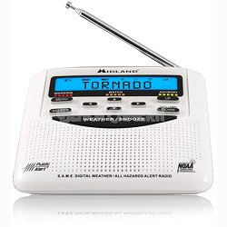 WR-120B NOAA Emergency Weather Alert Certified Radio with Alarm Clock (White)