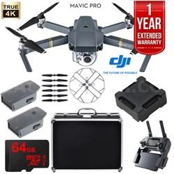 Mavic Pro Extended Flight Kit w/ Extra Battery, Charging Hub, Case, 64GB Card