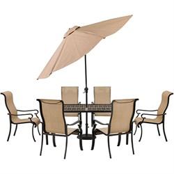 Brigantine 7-Piece Dining Set with 9-Ft. Table Umbrella - BRIGDN7PC-SU