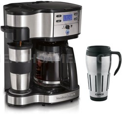 Two Way Brewer Single Serve and 12 cup Coffee Maker w/ Thermal Travel Mug Bundle