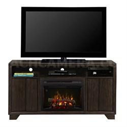 Electric Fireplace & Media Console Bayne - Graphite, Logs