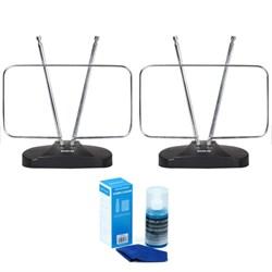 2-Pack Durable HDTV & FM Antenna, Rabbit Ears Design - Energy Star Certified