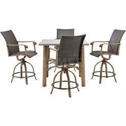 Hermosa 5pc Bar Set: 5 Alum. Dining Chairs 1 Square Table