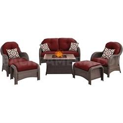 Newport 6-Piece Woven Seating Set w/ Tan Porcelain Tile Top - NEWPT6PCFP-RED-TN