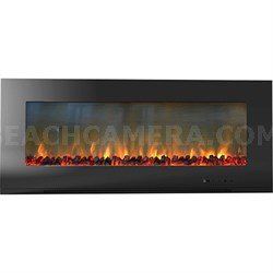 56  Metropolitan Wall Mount Electronic Fireplace with Logs