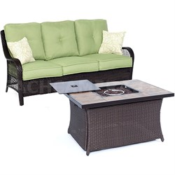 Orleans2pc FP Seating Set: Sofa Fire Pit Coffee Tbl