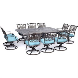 11pc Dining Set: 10 Swivel Rockers 60x84  Cast Table
