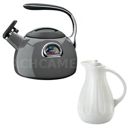 PerfecTemp Porcelain Enameled Teakettle w/ Copco Simplify 1 Quart Carafe, White